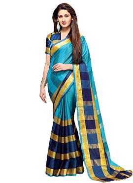 Blue Silk Cotton Border Saree