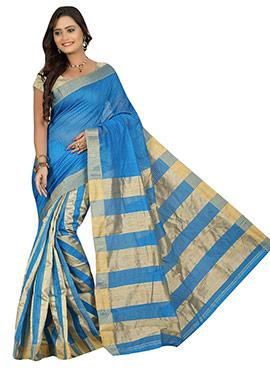 Blue Handloom Silk Cotton Half N Half Saree