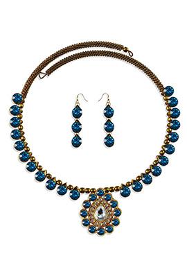 Blue Stone Beautified Choker Necklace Set