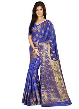 Blue Tussar Silk Zari Weaved Saree