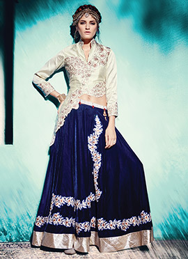 Blue Velvet Long Choli Lehenga
