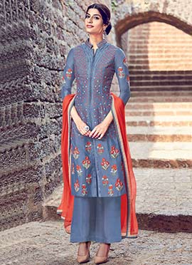 Bluish Grey Pure Cotton Satin Palazzo Suit
