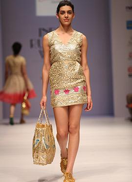 Blushing Couture Beige Chanderi Midi Dress