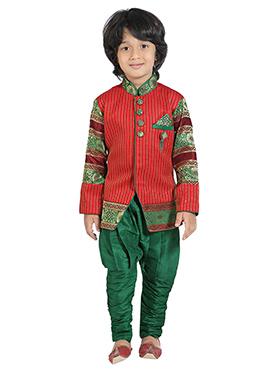 Boys Red Silk Blend Indowestern Sherwani