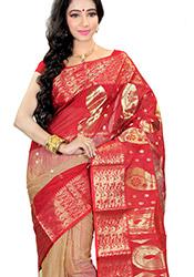 Breathtaking Red Tussar Silk Saree