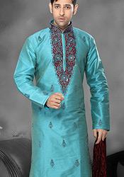 Breathtaking Turquoise Silk Kurta Pyjama