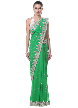Bright Green Georgette Saree