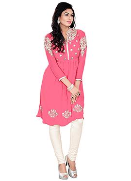 Bright Pink Embroidered Kurti