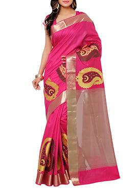 Bright Pink Silk Cotton Saree