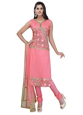 Brink Pink Net Churidar Suit