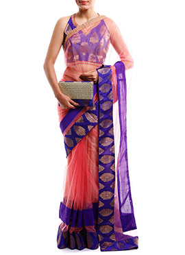 Brink Pink Net Designed Border Saree
