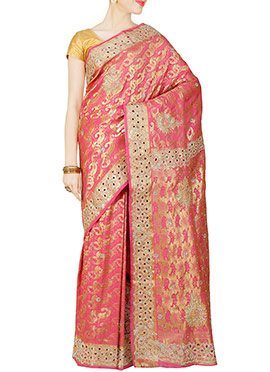 Brink Pink Pure Brocade Silk Saree