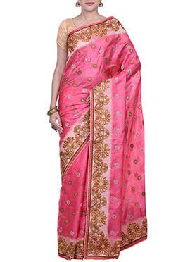 Brink Pink Pure Silk Embroidered Saree