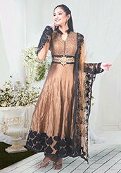 Bronze Chanderi Silk Ankle Length Anarkali
