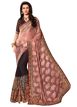 Brown  N Peach Embroidered Half N Half Saree
