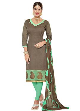 Brown Benarasi Jacquard Churidar Suit