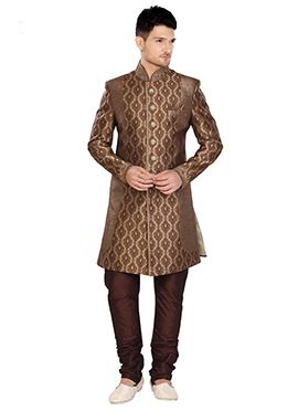Brown Brocade Indowestern Sherwani