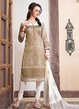 Brown Chanderi Silk Churidar Suit