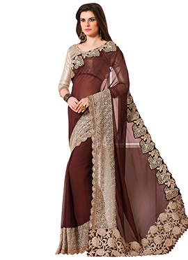 Brown Georgette Border Saree