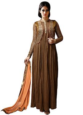 Brown Georgette Anarkali Suit