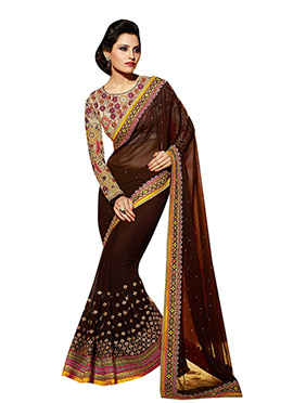 Brown Georgette Embroidered Saree