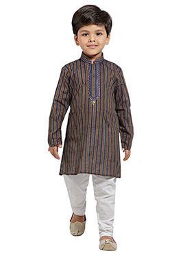Brown Kids Cotton Kurta Pyjama