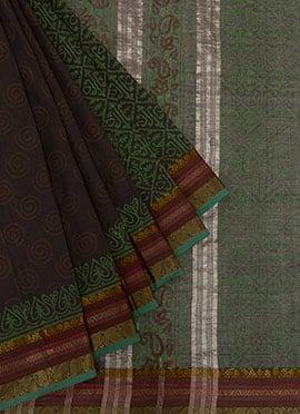Brown N Black Printed Cotton Saree
