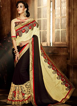 Brown N Cream Embroidered Saree