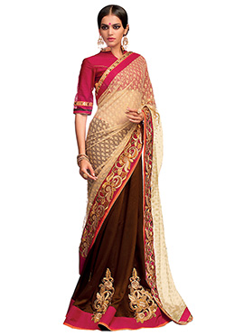 Brown N Cream Half N Half Saree