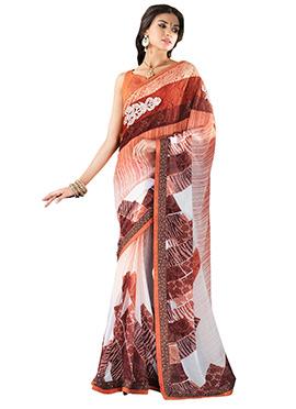 Brown N Off White Printed Saree