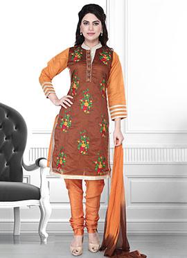 Brown N Orange Art Silk Churidar Suit