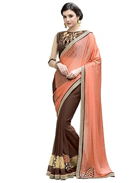 Brown N Peach Half N Half Saree