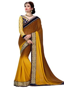 Brown N Yellow Saree