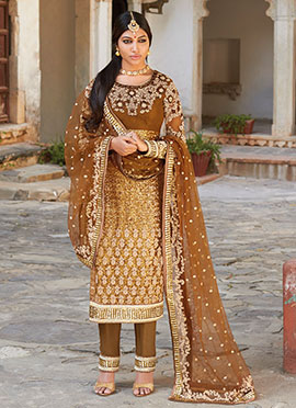 Brown Net Embroidered Straight Pant Suit