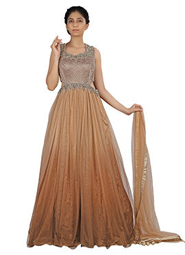 Brown Ombre Net Anarkali Suit