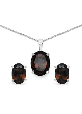 Brown Topaz Stone Pendant Set