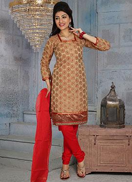 Brown Poly Cotton Brocade Churidar Suit