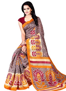 Brown Printed Cotton Saree