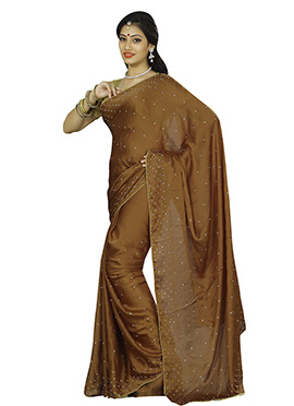 Brown Satin Chiffon Saree