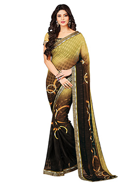 Brown Shade N Yellow Brasso Saree