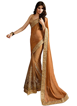 Brown Shaded Half N Half Saree