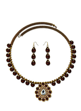 Brown Stone Adorned Choker Necklace Set