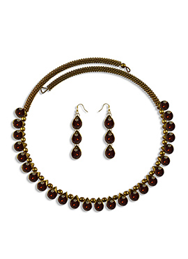 Brown Stone Embellished Choker Necklace Set