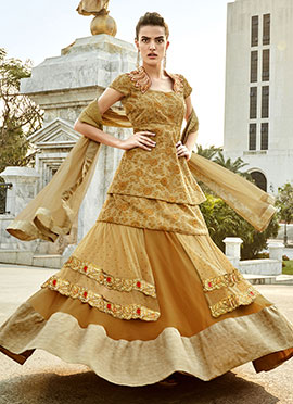 Brownish Ochre Embellished Long Choli Lehenga