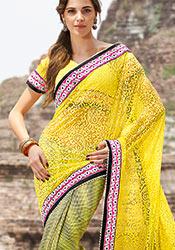 Bubbly yellow net half N half saree.