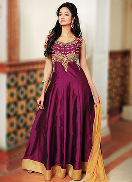 Burgundy Art Dupion Silk Anarkali Suit