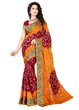Burgundy N Golden Yellow Bandhini Saree