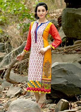 Cambric Cotton Multicolored Printed Kurti