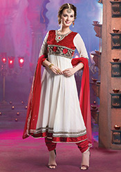 White Evelyn Sharma Georgette Anarkali