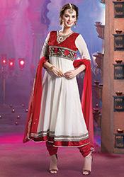 White Evelyn Sharma Georgette Anarkali